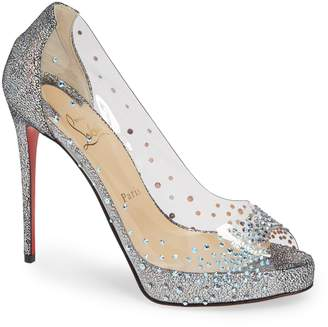 4907990c7f5b Christian Louboutin Very Strass Embellished Peep Toe Pump