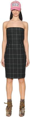 DSQUARED2 Plaid Felted Wool Bustier Dress