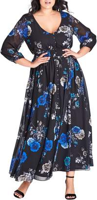 City Chic Electric Floral Print Maxi Dress