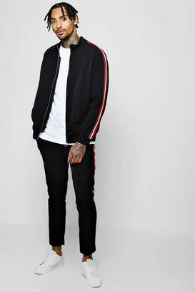 BoohooMAN Crepe Smart Bomber Tracksuit With Tapings