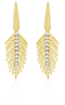 SUTRA 18K Yellow Gold Diamond Small Feather Earrings