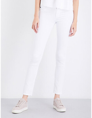 AG Jeans White Concealed Zip Prima Cigarette Mid-Rise Jeans