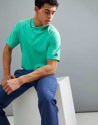 adidas Textured Stripe Polo In Green DH6815