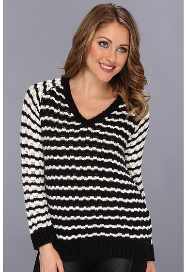 Vince Camuto TWO by V Neck Bubble Stitch Stripe Sweater