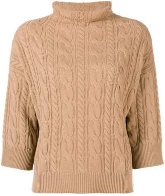 Max Mara cable-knit funnel neck sweater