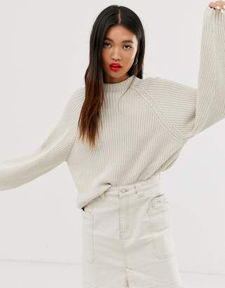 Monki ribbed crew neck oversized jumper in off white