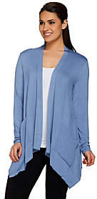 LOGO by Lori Goldstein Open Front Cardigan withChiffon Pockets