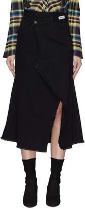 Ground Zero Deconstructed denim mock wrap skirt