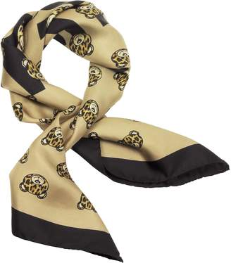 Moschino All-over Teddy Bear Printed Twill Silk Square Scarf
