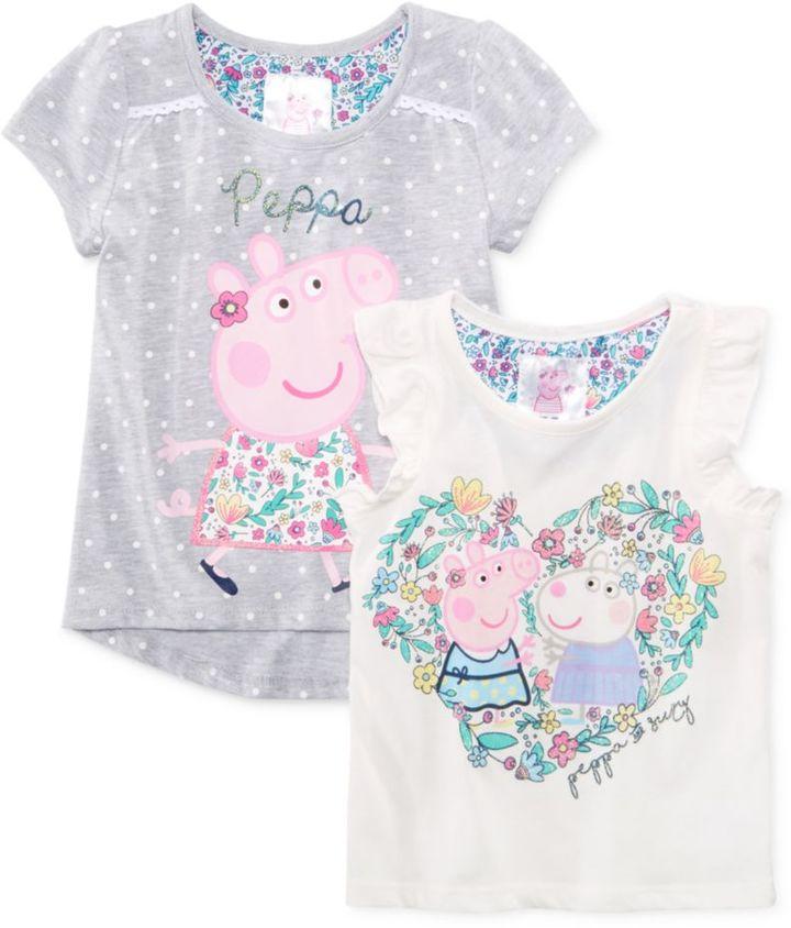 Nickelodeon Nickelodeon's Peppa Pig 2-Pc. Embellished Top Set, Little Girls (4-6X)