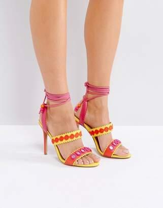 Forever Unique Lace Up Ankle Strap Zig Zag Heeled Sandal