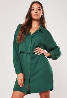 Missguided Deep Green Utility Shirt Dress