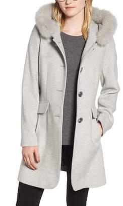 Kristen Blake Genuine Fox Trim Hooded Wool Coat