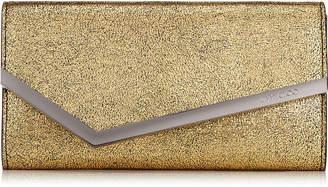 Jimmy Choo EMMIE Gold Metallic Goat Leather Clutch Bag