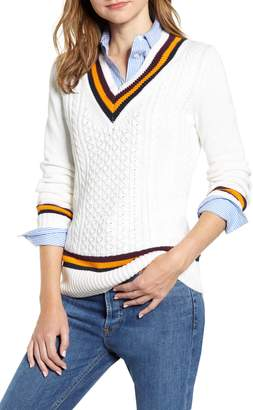 Tommy Hilfiger Tipped V-Neck Varsity Sweater