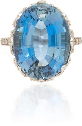 Munnu The Gem Palace Platinum Aquamarine And Diamond Ring