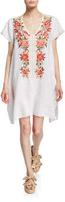 Johnny Was Plus Size Paola Floral Embroidered Short-Sleeve Draped Linen Tunic Dress