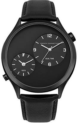 French Connection Men's Quartz Metal and Leather Casual Watch, Color: (Model: FC1284BB)