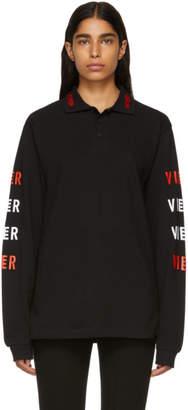 Vier Black Logo Long Sleeve Polo