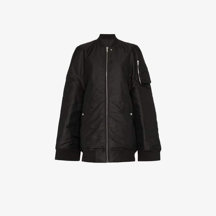 Oversized and slit sleeve bomber jacket