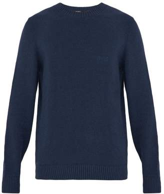 A.P.C. Micka Logo Embroidered Cotton Blend Sweater - Mens - Dark Navy