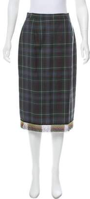 Clements Ribeiro Embellished Plaid Skirt