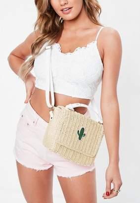 Missguided Cream Wicker Cactus Cross Body Bag