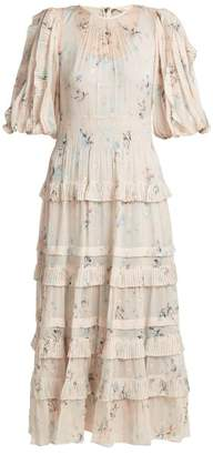 Rebecca Taylor Floral Print Crepe Midi Dress - Womens - Cream Multi