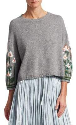 RED Valentino Floral Knit Pullover