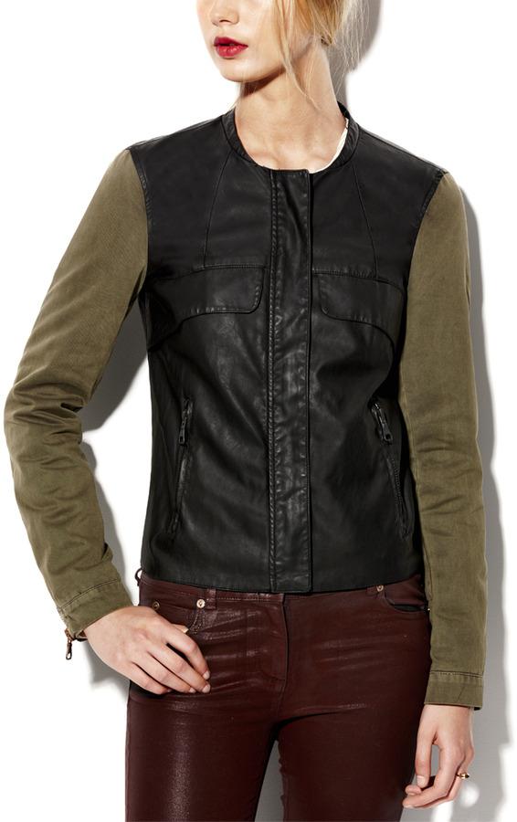 Vince Faux Leather Cross Dye Jacket