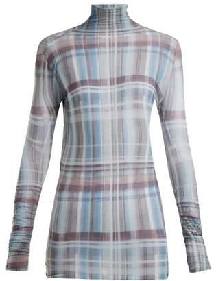 Acne Studios Check Print Roll Neck Top - Womens - Blue Multi