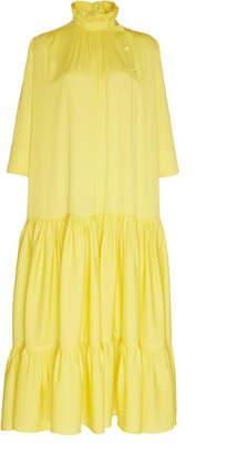 Calvin Klein Silk Georgette Flounce Dress With Ruched Collar