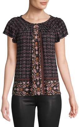 Style&Co. Style & Co. Petite Floral Pleat-Neck Top