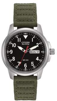 Citizen Eco-Drive Stainless Steel and Canvas Sport Watch
