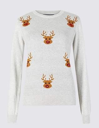 Marks and Spencer Embellished Reindeer Christmas Jumper