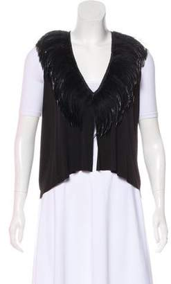 Rozae Nichols Feather-Trimmed Open Front Vest