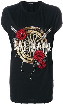 Balmain oversized beaded logo T-shirt