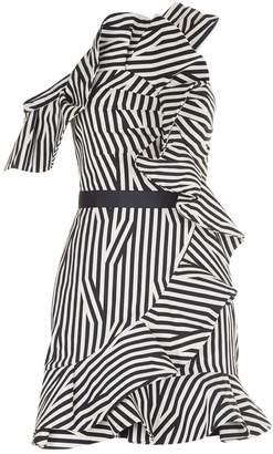 Self-Portrait Asymmetric Striped Ruffle Dress