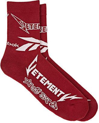 Vetements Men's Logo Cotton-Blend Mid-Calf Socks $85 thestylecure.com