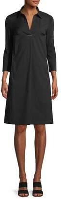 Lafayette 148 New York Zac Classic Stretch-Poplin Dress with Jersey Sleeves