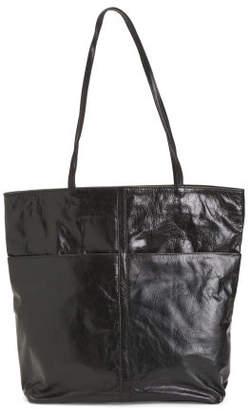 Leather Front Zip Pocket Tote