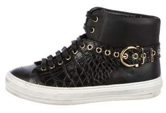 Salvatore Ferragamo Leather Embossed Sneakers