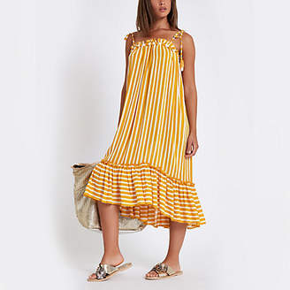 River Island Yellow stripe pom pom beach dress