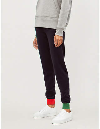 Chinti and Parker Contrast-cuff cashmere jogging bottoms