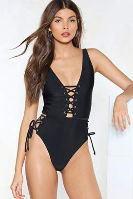 Nasty Gal Tie As I May Lace-Up Swimsuit
