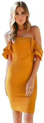 Alixyz Women's Prom Dress Ruffle Off The Shoulder Bodycon Evening Party Short Mini Dress (XL, )