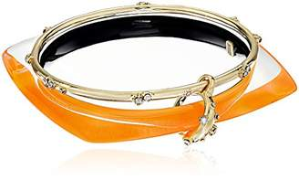 Alexis Bittar Geometric Linked Bangle Set with Satellite Crystal Detail Neon Orange Bangle Bracelet