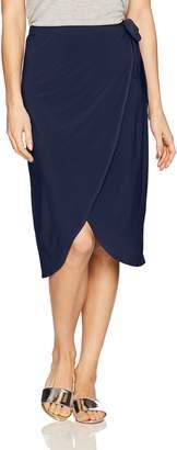 Star Vixen Women's Knee Length Sidetie Faux Wrap Skirt
