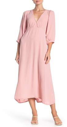 Velvet Torch V-Neck Puff Sleeve Empire Midi Dress