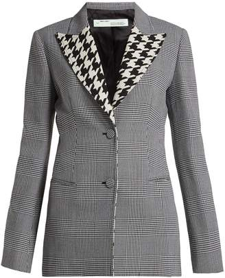 Off-White Single-breasted Prince of Wales check wool blazer